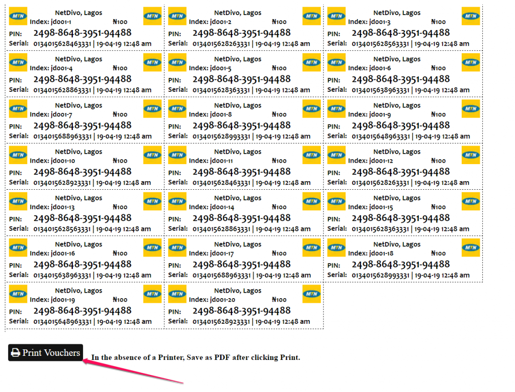 sampe printed mtn airtime vouchers in nigeria
